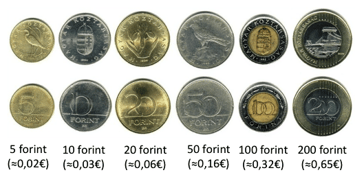 pieces de monnaie hongroise - changer son argent