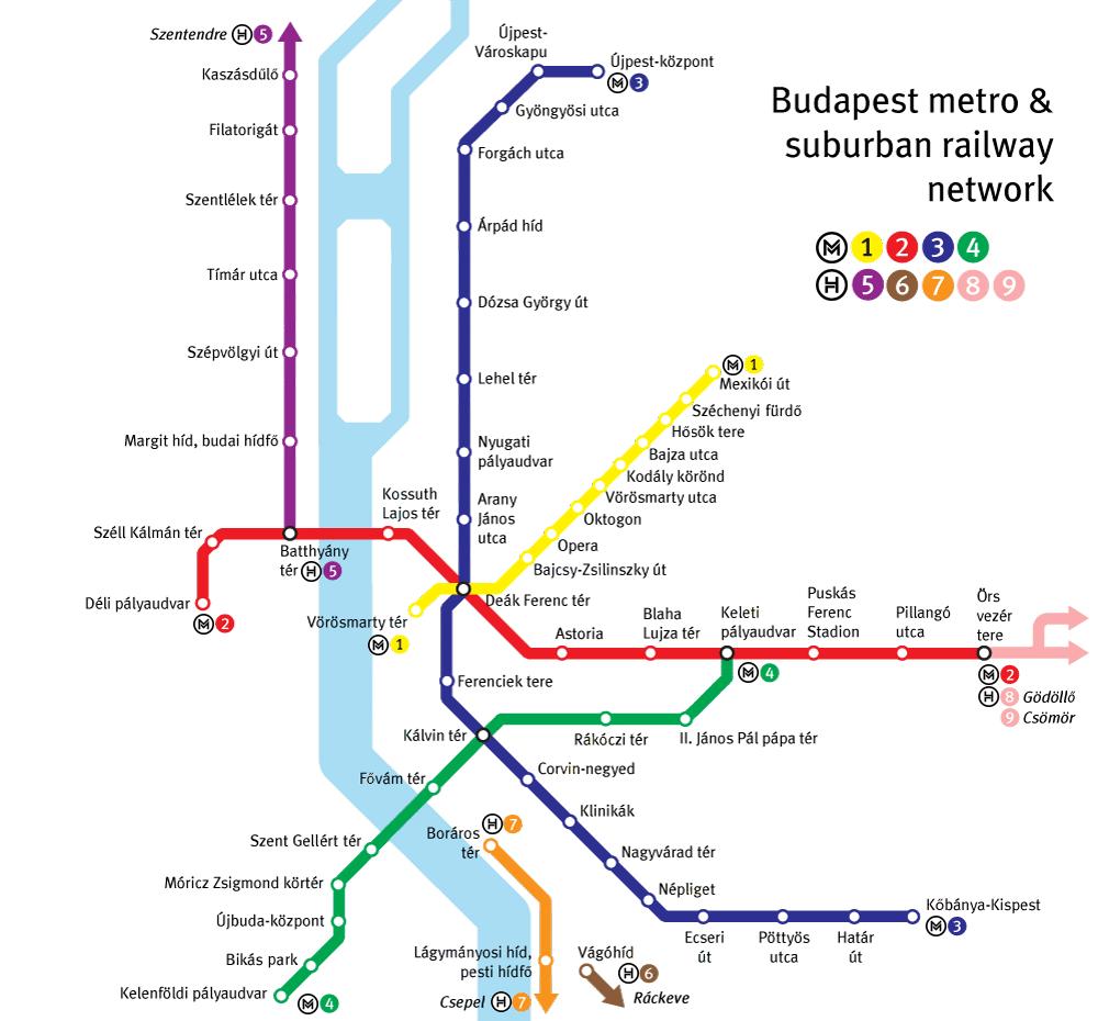 Plan du métro de Budapest en Hongrie