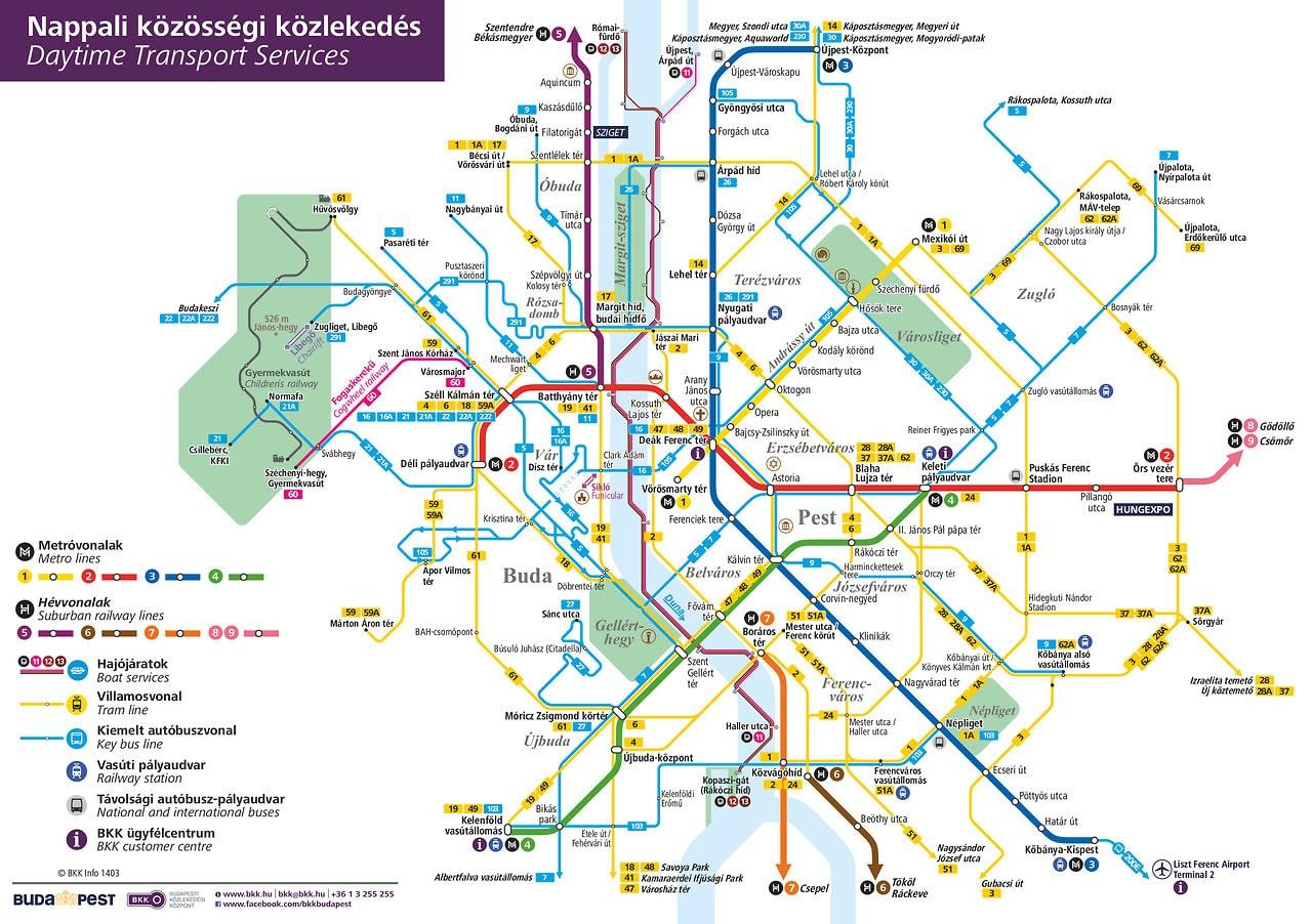 plan des transports publics de Budapest
