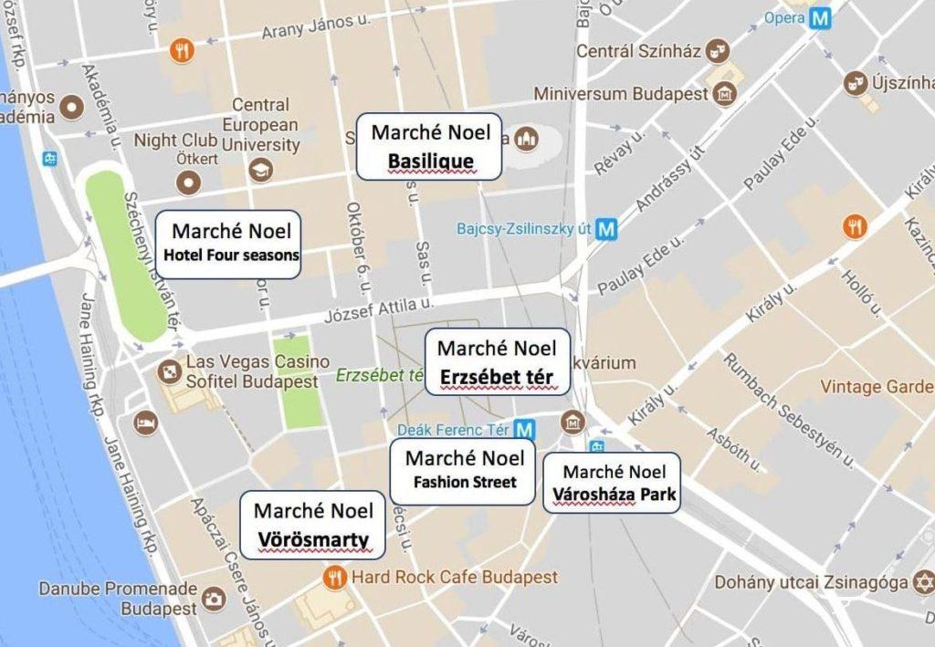 plan marchés de Noel Budapest