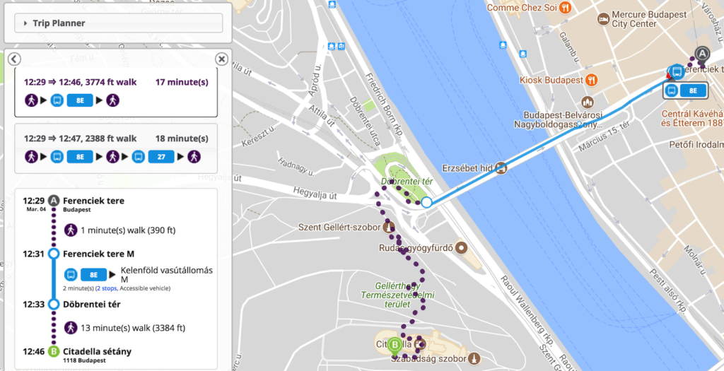 Visiter Budapest -trajet citadelle